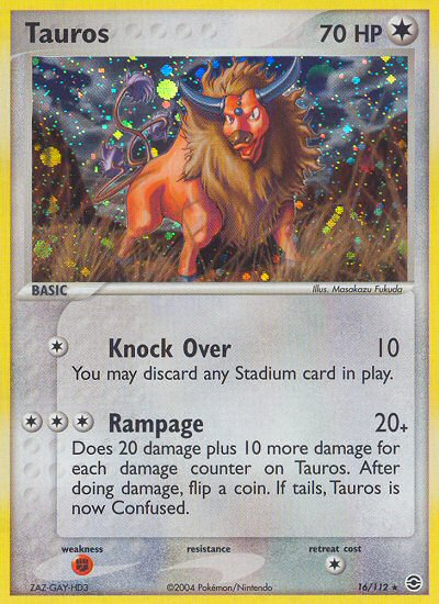 Tauros from ex Fire Red - Leaf Green